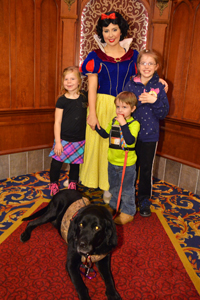 Kids with dog meeting Snow White