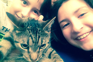 Steve-O the tabby cat and his new family