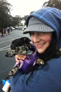 Christine Falletti and Jinx the dog at Strut Your Mutt