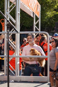 Bill Berloni and Trixie the small dog at Strut Your Mutt in New York City