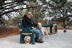 Bill Splitter who transports shelter dogs for Best Friends with two dogs
