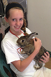 Emily with Snickers the rabbit