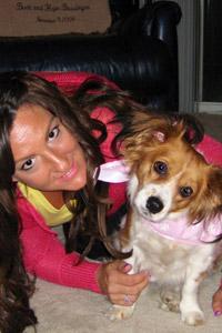 Eudora the distemper survivor dog and her adopter Hope, enjoying some time together