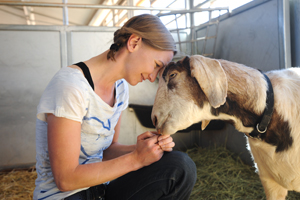 Kat Lucas from Germany with Skid the goat