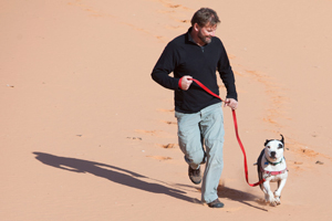 David and Kiwi the dog at Coral Pink Sand Dunes State Park